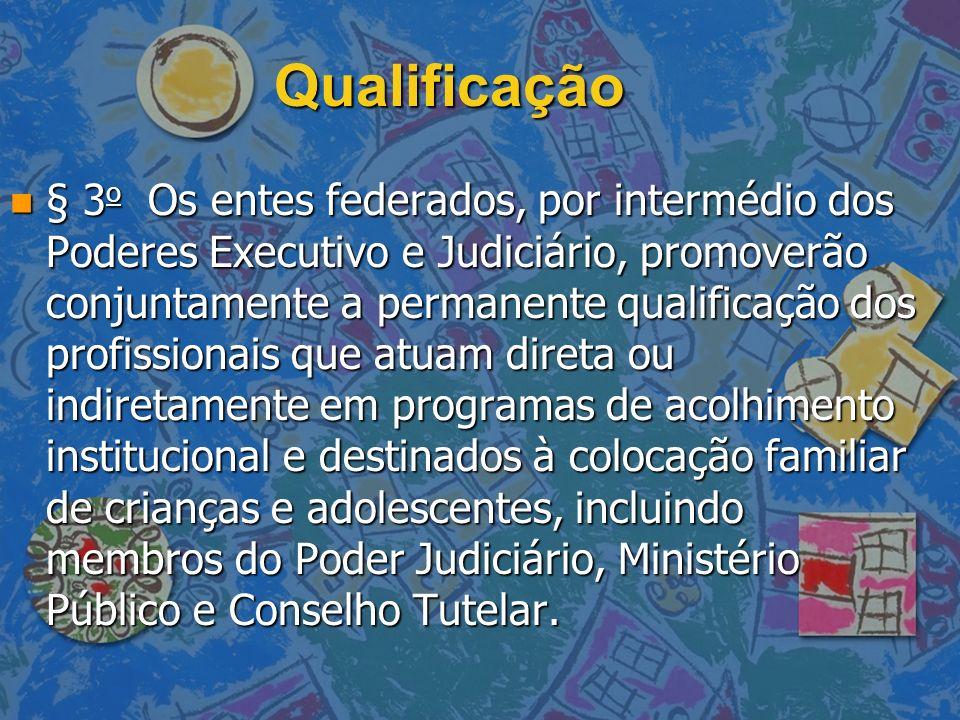 Qualificação n § 3 o Os entes federados, por intermédio dos Poderes Executivo e Judiciário, promoverão conjuntamente a permanente qualificação dos pro