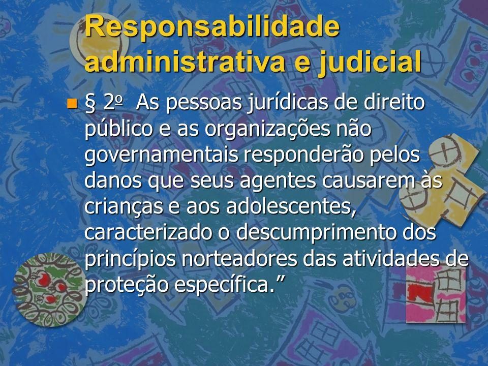 Responsabilidade administrativa e judicial n § 2 o As pessoas jurídicas de direito público e as organizações não governamentais responderão pelos dano