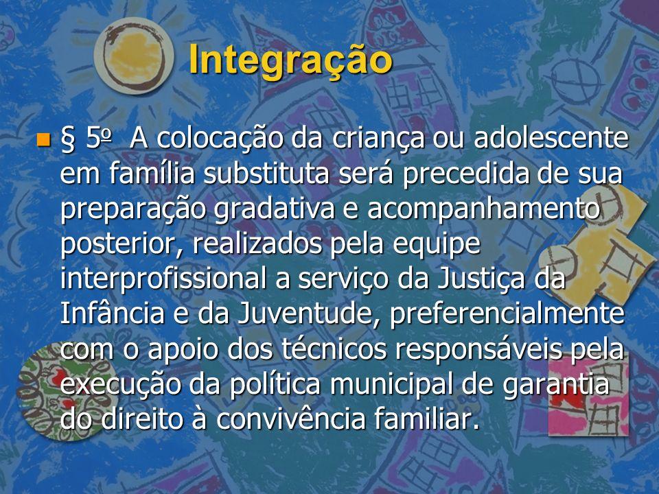 Integração n § 5 o A colocação da criança ou adolescente em família substituta será precedida de sua preparação gradativa e acompanhamento posterior,