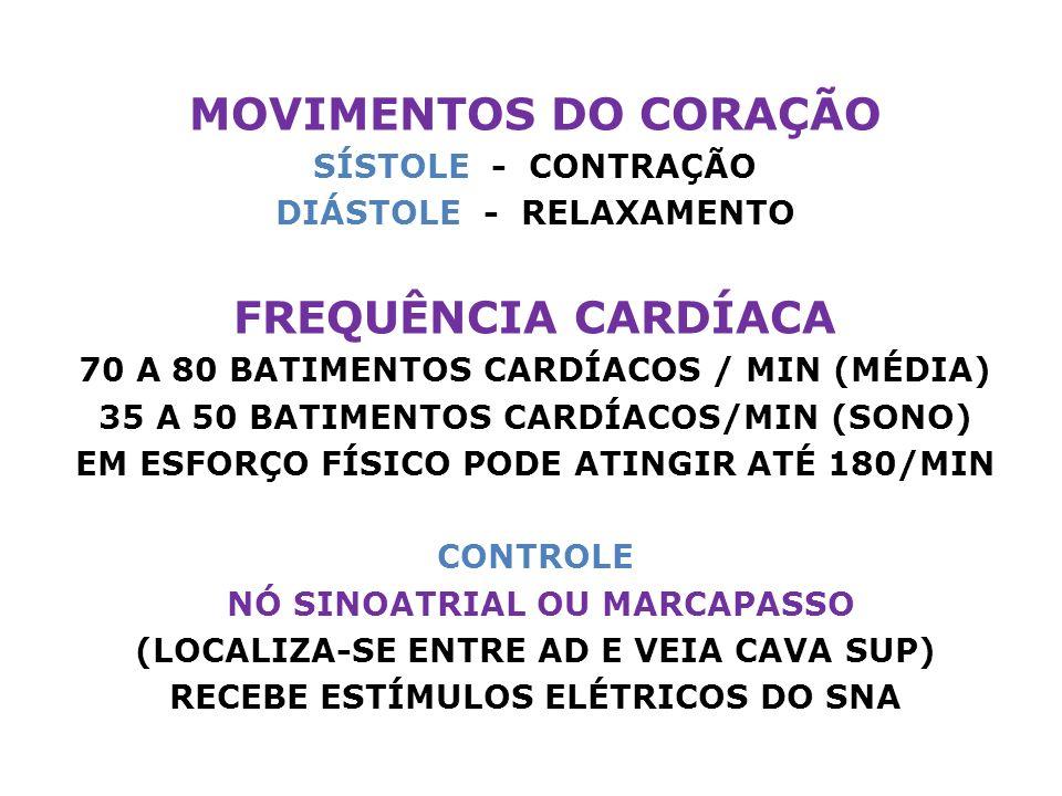 MOVIMENTOS DO CORAÇÃO SÍSTOLE - CONTRAÇÃO DIÁSTOLE - RELAXAMENTO FREQUÊNCIA CARDÍACA 70 A 80 BATIMENTOS CARDÍACOS / MIN (MÉDIA) 35 A 50 BATIMENTOS CARDÍACOS/MIN (SONO) EM ESFORÇO FÍSICO PODE ATINGIR ATÉ 180/MIN CONTROLE NÓ SINOATRIAL OU MARCAPASSO (LOCALIZA-SE ENTRE AD E VEIA CAVA SUP) RECEBE ESTÍMULOS ELÉTRICOS DO SNA