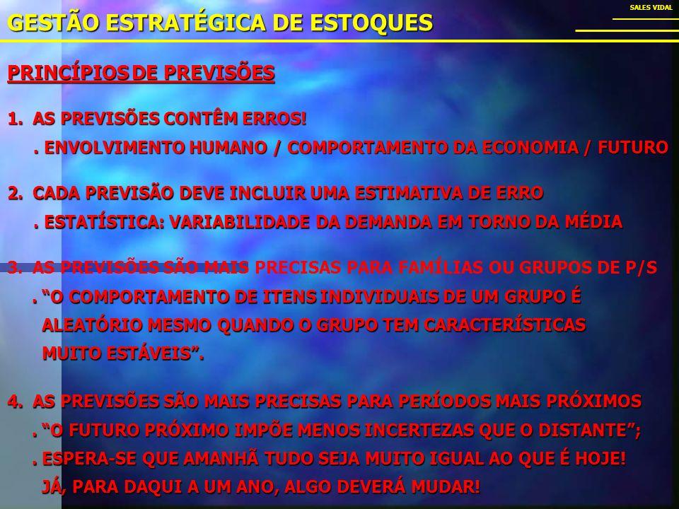 GESTÃO ESTRATÉGICA DE ESTOQUES SALES VIDAL 3.AS PREVISÕES SÃO MAIS PRECISAS PARA FAMÍLIAS OU GRUPOS DE P/S.