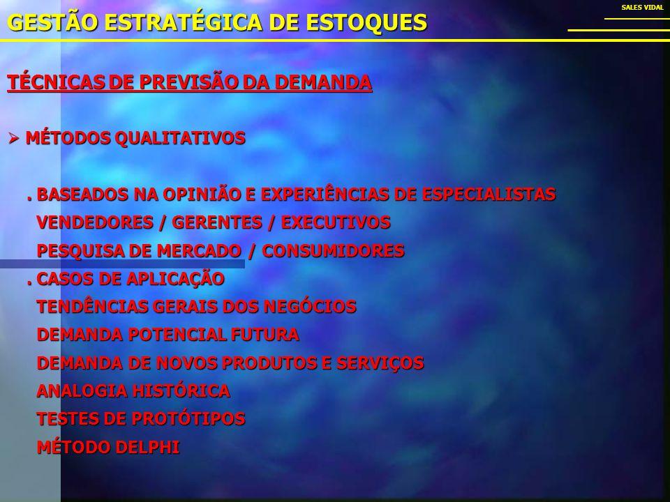 TÉCNICAS DE PREVISÃO DA DEMANDA GESTÃO ESTRATÉGICA DE ESTOQUES SALES VIDAL MÉTODOS QUALITATIVOS MÉTODOS QUALITATIVOS.