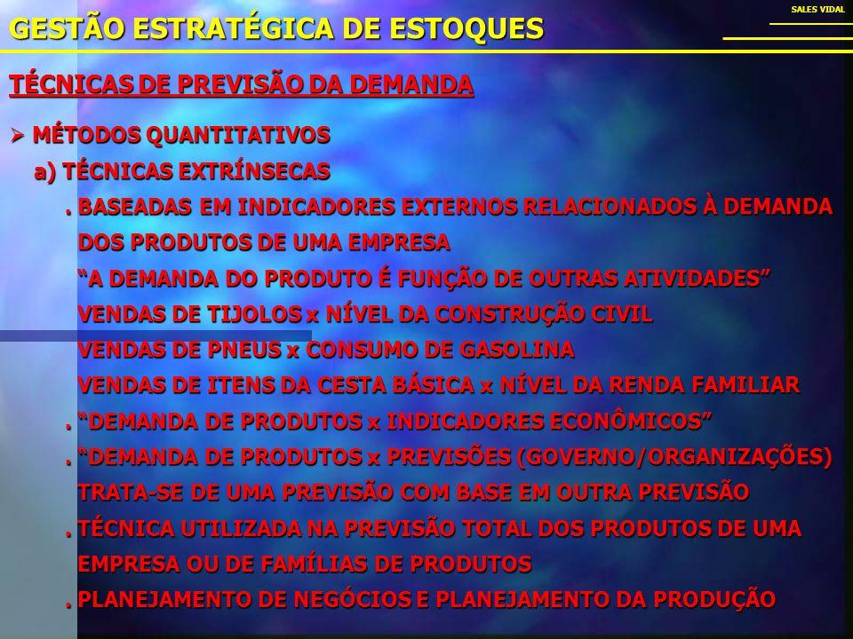 TÉCNICAS DE PREVISÃO DA DEMANDA GESTÃO ESTRATÉGICA DE ESTOQUES SALES VIDAL MÉTODOS QUANTITATIVOS MÉTODOS QUANTITATIVOS a) TÉCNICAS EXTRÍNSECAS a) TÉCNICAS EXTRÍNSECAS.