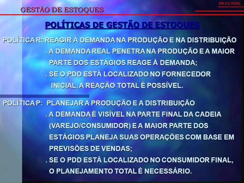 GESTÃO DE ESTOQUES SALES VIDAL POLÍTICA R: REAGIR À DEMANDA NA PRODUÇÃO E NA DISTRIBUIÇÃO.