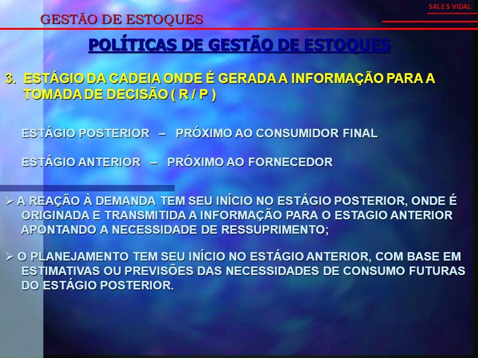 GESTÃO DE ESTOQUES SALES VIDAL POLÍTICAS DE GESTÃO DE ESTOQUES 3.