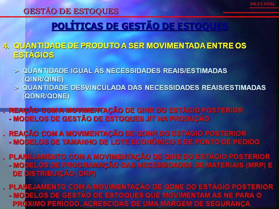 GESTÃO DE ESTOQUES SALES VIDAL POLÍTICAS DE GESTÃO DE ESTOQUES 4.