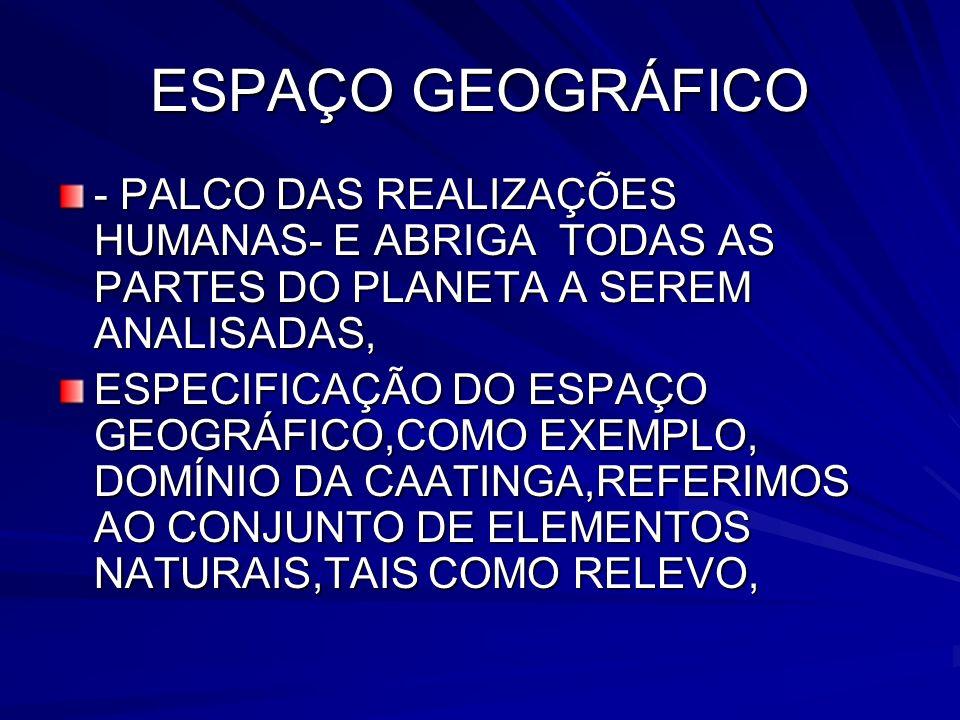 ESPAÇO GEOGRÁFICO - PALCO DAS REALIZAÇÕES HUMANAS- E ABRIGA TODAS AS PARTES DO PLANETA A SEREM ANALISADAS, ESPECIFICAÇÃO DO ESPAÇO GEOGRÁFICO,COMO EXE