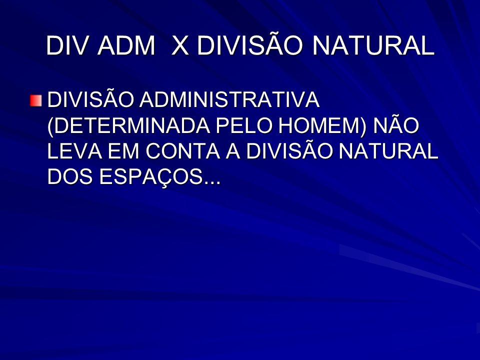 DIV ADM X DIVISÃO NATURAL DIVISÃO ADMINISTRATIVA (DETERMINADA PELO HOMEM) NÃO LEVA EM CONTA A DIVISÃO NATURAL DOS ESPAÇOS...