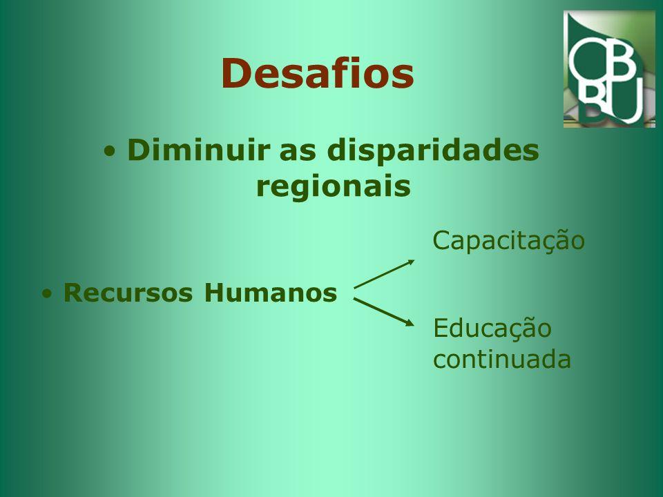 Desafios Diminuir as disparidades regionais Capacitação Educação continuada Recursos Humanos