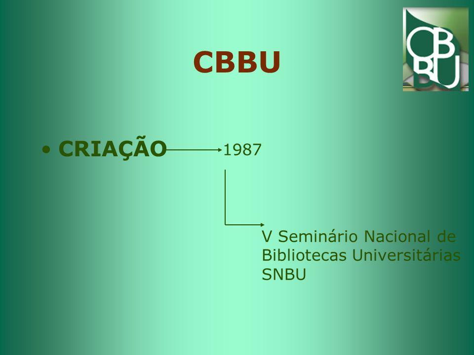 CBBU CRIAÇÃO 1987 V Seminário Nacional de Bibliotecas Universitárias SNBU