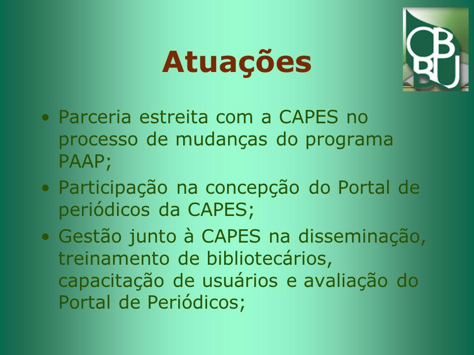 Atuações Parceria estreita com a CAPES no processo de mudanças do programa PAAP; Participação na concepção do Portal de periódicos da CAPES; Gestão junto à CAPES na disseminação, treinamento de bibliotecários, capacitação de usuários e avaliação do Portal de Periódicos;