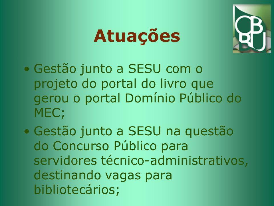 Atuações Gestão junto a SESU com o projeto do portal do livro que gerou o portal Domínio Público do MEC; Gestão junto a SESU na questão do Concurso Público para servidores técnico-administrativos, destinando vagas para bibliotecários;