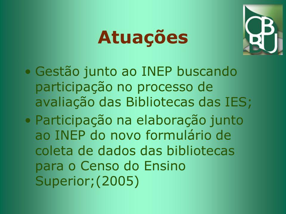 Atuações Gestão junto ao INEP buscando participação no processo de avaliação das Bibliotecas das IES; Participação na elaboração junto ao INEP do novo formulário de coleta de dados das bibliotecas para o Censo do Ensino Superior;(2005)