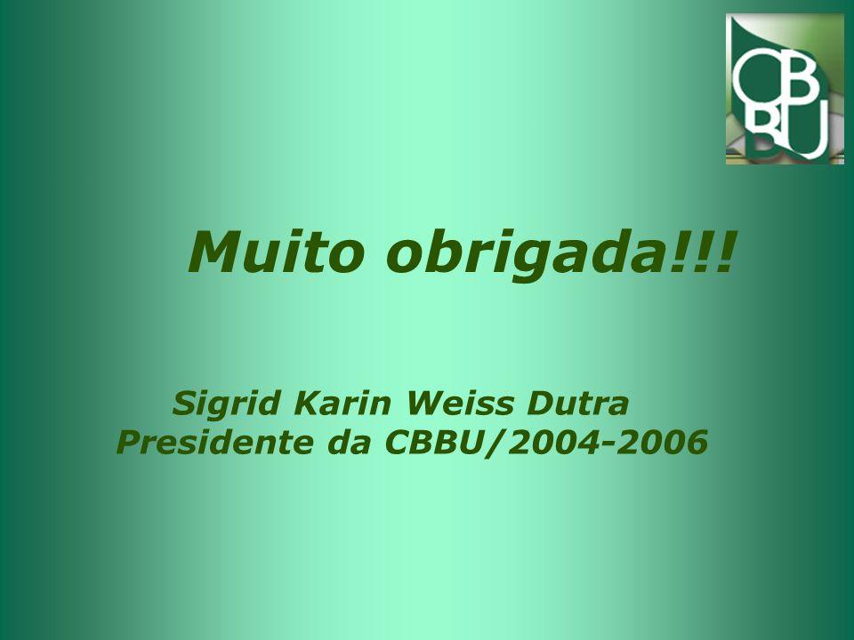 Muito obrigada!!! Sigrid Karin Weiss Dutra Presidente da CBBU/2004-2006