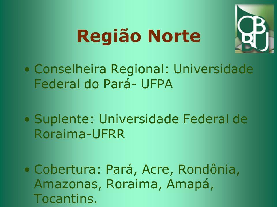Região Nordeste 1 Conselheira Regional: Universidade Federal da Bahia- UFBA Suplente: FUNESO Abrangência: Alagoas, Bahia, Pernambuco e Sergipe