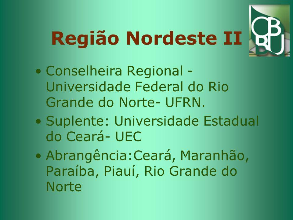 Região Sudeste I Conselheira Regional: Universidade Federal de Minas Gerais- UFMG Suplente: Universidade Federal do Espírito Santo- UFES Abrangência: Minas Gerais e Espírito Santo
