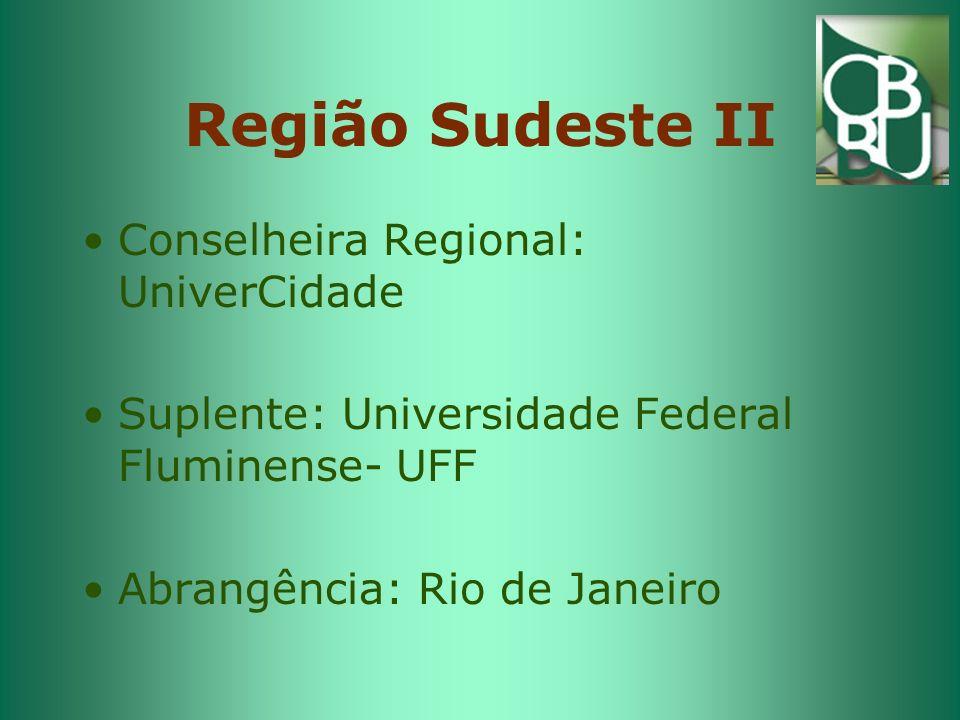 Região Sudeste II Conselheira Regional: UniverCidade Suplente: Universidade Federal Fluminense- UFF Abrangência: Rio de Janeiro