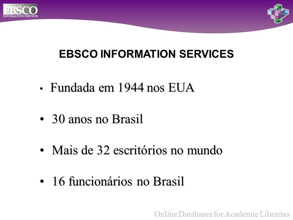 Online Databases for Academic Libraries EBSCO INFORMATION SERVICES Fundada em 1944 nos EUA Fundada em 1944 nos EUA 30 anos no Brasil 30 anos no Brasil Mais de 32 escritórios no mundo Mais de 32 escritórios no mundo 16 funcionários no Brasil 16 funcionários no Brasil