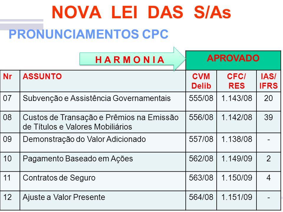 Contabilidade Empresarial 10 NOVA LEI DAS S/As PRONUNCIAMENTOS CPC APROVADO NrASSUNTOCVM Delib CFC/ RES IAS/ IFRS 07Subvenção e Assistência Governamen