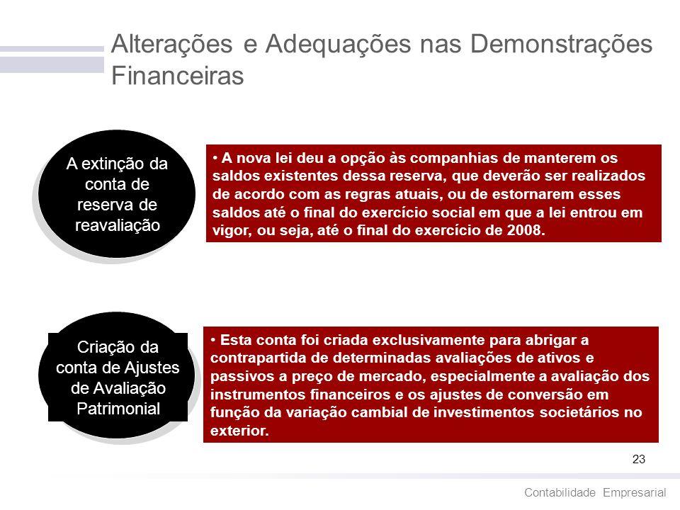 Contabilidade Empresarial 23 Alterações e Adequações nas Demonstrações Financeiras A extinção da conta de reserva de reavaliação A nova lei deu a opçã
