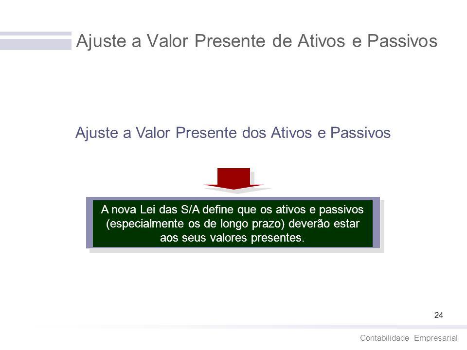 Contabilidade Empresarial 24 Ajuste a Valor Presente de Ativos e Passivos Ajuste a Valor Presente dos Ativos e Passivos A nova Lei das S/A define que