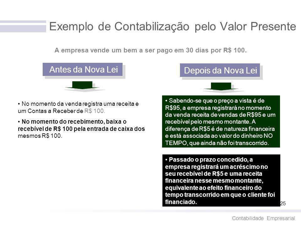 Contabilidade Empresarial 25 Exemplo de Contabilização pelo Valor Presente Antes da Nova Lei Depois da Nova Lei No momento da venda registra uma recei