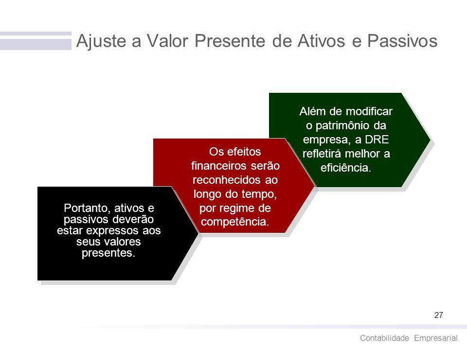 Contabilidade Empresarial 27 Ajuste a Valor Presente de Ativos e Passivos Portanto, ativos e passivos deverão estar expressos aos seus valores present