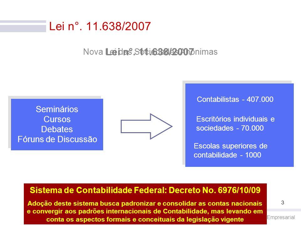 Contabilidade Empresarial 3 Lei n°. 11.638/2007 Escolas superiores de contabilidade - 1000 Contabilistas - 407.000 Escritórios individuais e sociedade
