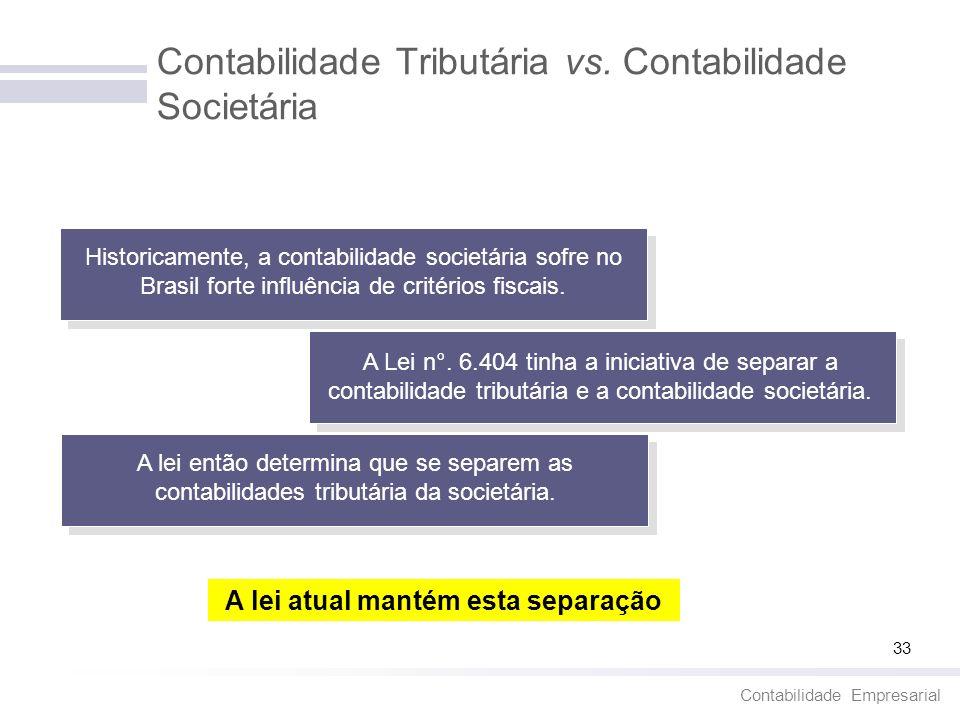 Contabilidade Empresarial 33 Contabilidade Tributária vs. Contabilidade Societária Historicamente, a contabilidade societária sofre no Brasil forte in