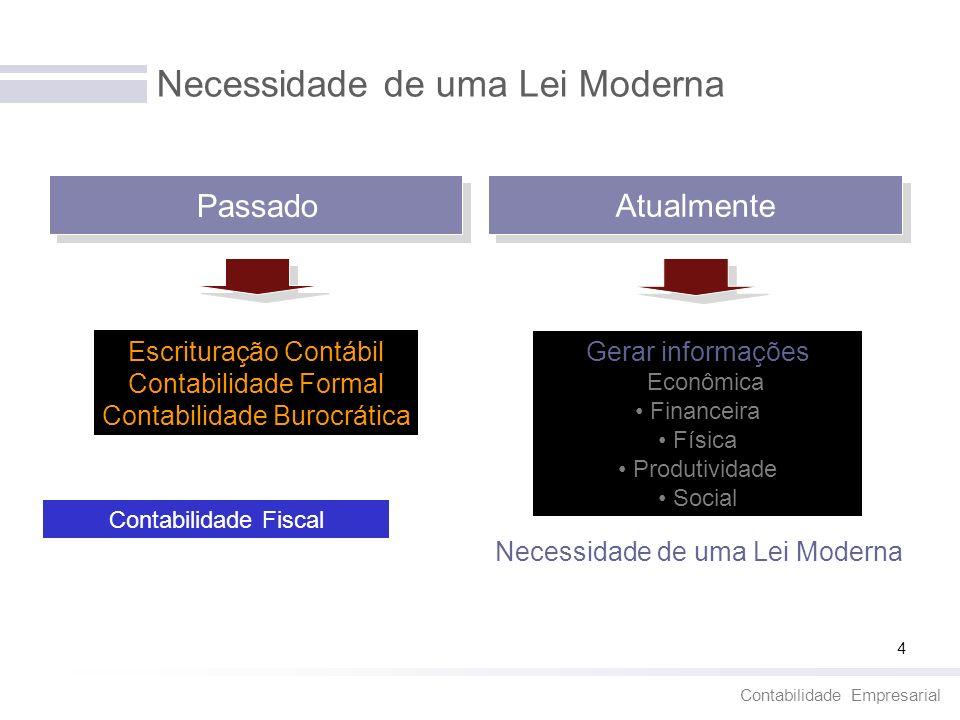 Contabilidade Empresarial 4 Necessidade de uma Lei Moderna Escrituração Contábil Contabilidade Formal Contabilidade Burocrática Gerar informações Econ