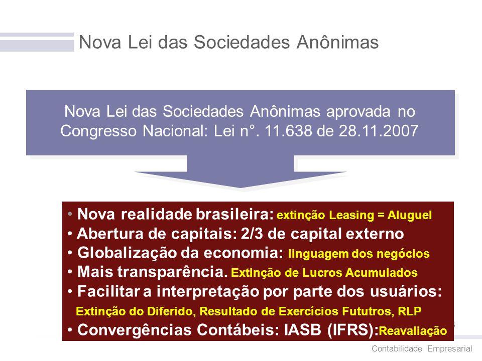 Contabilidade Empresarial 6 Nova Lei das Sociedades Anônimas Nova Lei das Sociedades Anônimas aprovada no Congresso Nacional: Lei n°. 11.638 de 28.11.