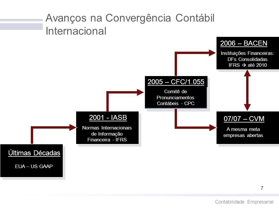 Contabilidade Empresarial 8 O CPC e a Convergência aos Padrões Internacionais de Contabilidade - IFRS O Comitê de Pronunciamentos Contábeis – CPC é a principal entidade no Brasil que atua na convergência ao IFRS e tem por objetivo hoje, o estudo e a divulgação de princípios, normas, padrões de contabilidade e de auditoria.