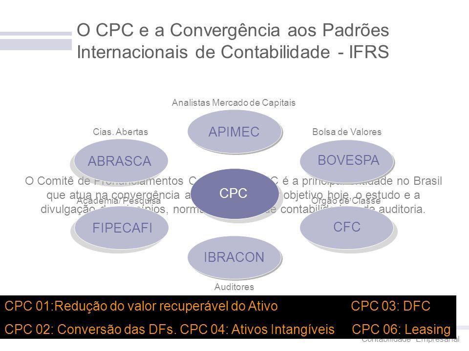 Contabilidade Empresarial 8 O CPC e a Convergência aos Padrões Internacionais de Contabilidade - IFRS O Comitê de Pronunciamentos Contábeis – CPC é a
