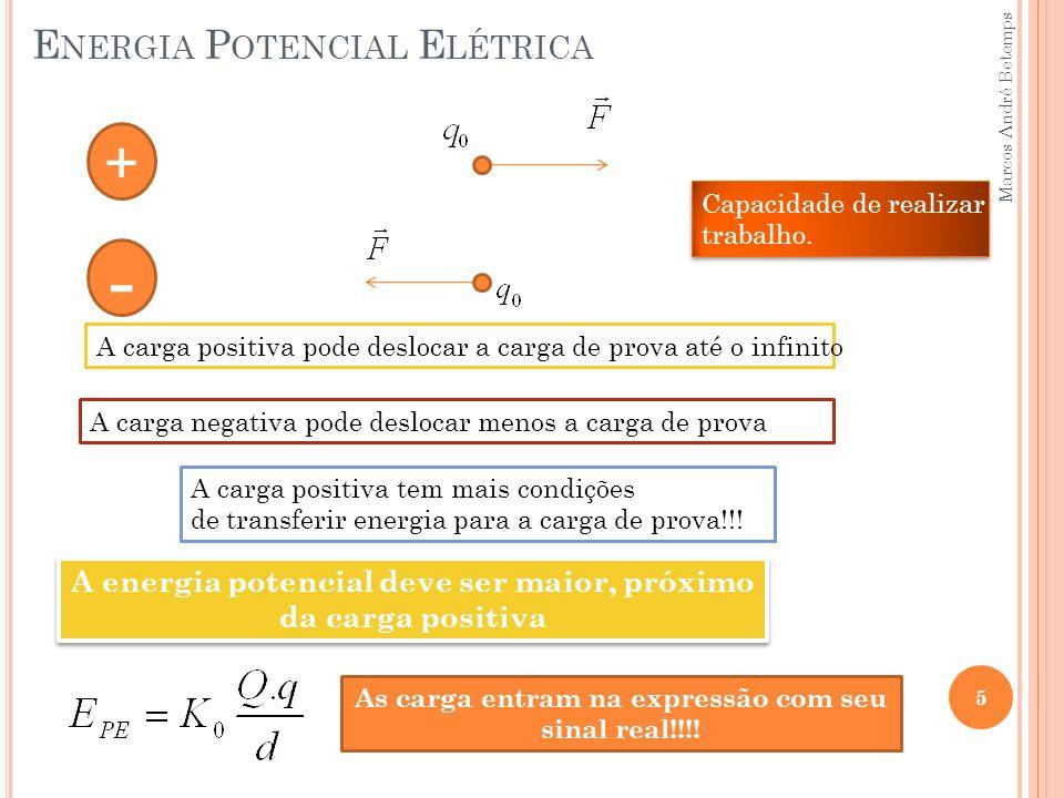 E NERGIA P OTENCIAL E LÉTRICA 6 A energia potencial elétrica pode ser positiva, negativa ou nula Temos uma energia logo a unidade é Joule (J) Ao redor de uma carga positiva a energia potencial elétrica é positiva Ao redor de uma carga negativa a energia potencial elétrica é negativa