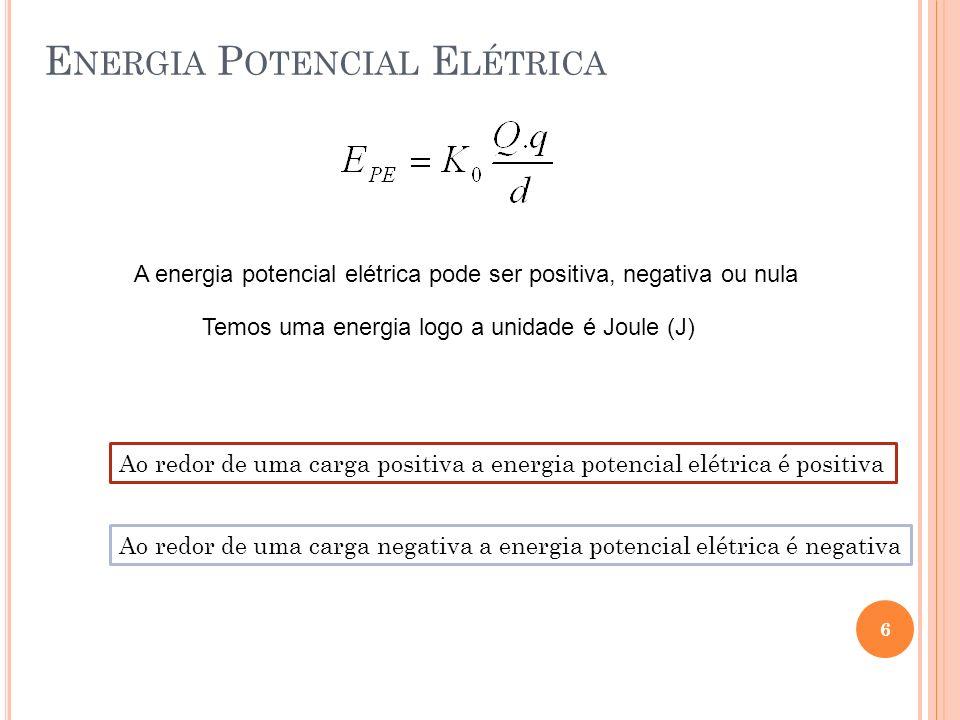 E NERGIA P OTENCIAL E LÉTRICA 6 A energia potencial elétrica pode ser positiva, negativa ou nula Temos uma energia logo a unidade é Joule (J) Ao redor