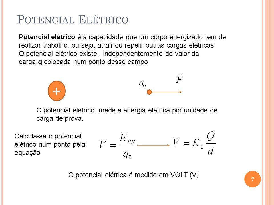 P OTENCIAL E LÉTRICO 7 Potencial elétrico é a capacidade que um corpo energizado tem de realizar trabalho, ou seja, atrair ou repelir outras cargas el
