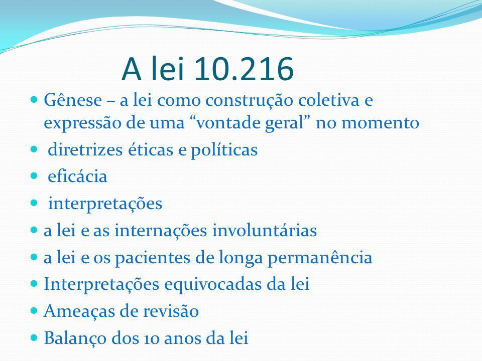 A lei 10.216 Gênese – a lei como construção coletiva e expressão de uma vontade geral no momento diretrizes éticas e políticas eficácia interpretações