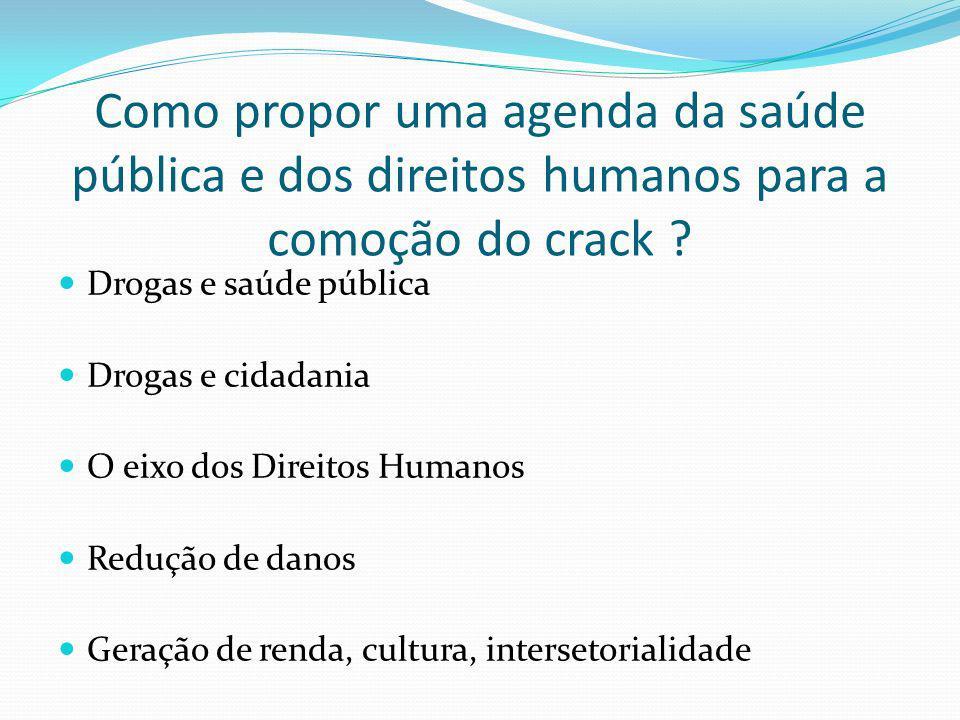 Como propor uma agenda da saúde pública e dos direitos humanos para a comoção do crack ? Drogas e saúde pública Drogas e cidadania O eixo dos Direitos