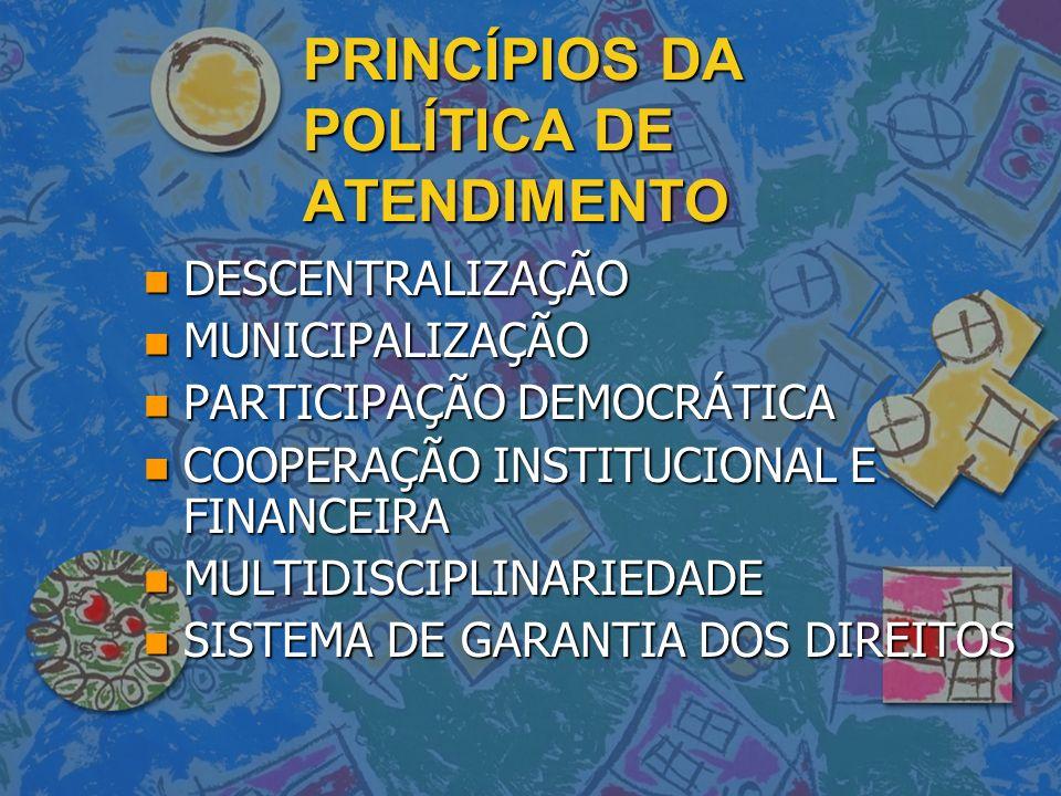PRINCÍPIOS DA POLÍTICA DE ATENDIMENTO n DESCENTRALIZAÇÃO n MUNICIPALIZAÇÃO n PARTICIPAÇÃO DEMOCRÁTICA n COOPERAÇÃO INSTITUCIONAL E FINANCEIRA n MULTID