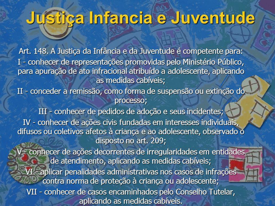 Justiça Infancia e Juventude Art. 148. A Justiça da Infância e da Juventude é competente para: I - conhecer de representações promovidas pelo Ministér