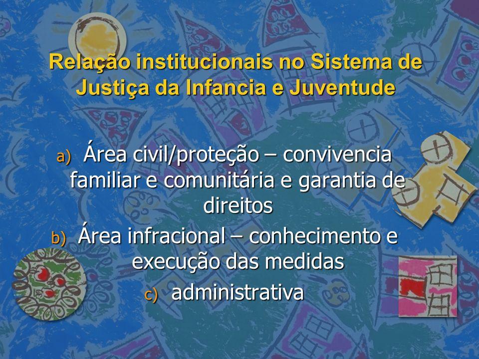 Relação institucionais no Sistema de Justiça da Infancia e Juventude a) Área civil/proteção – convivencia familiar e comunitária e garantia de direito