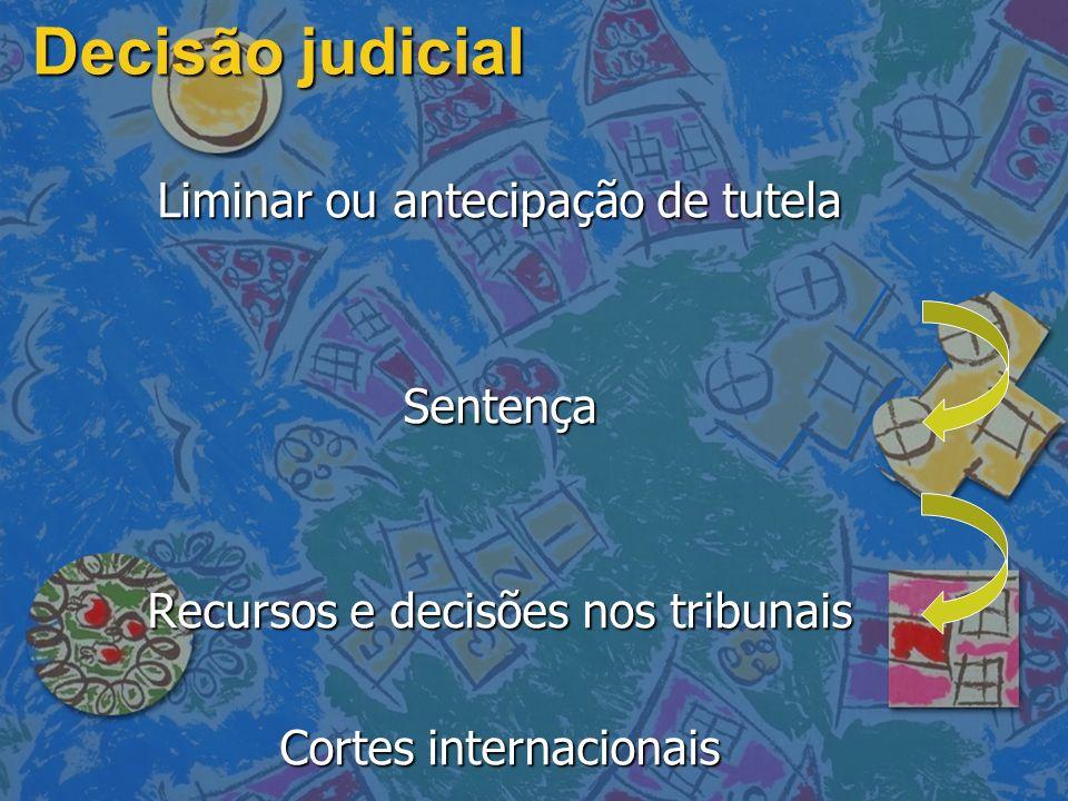 Decisão judicial Liminar ou antecipação de tutela Sentença Recursos e decisões nos tribunais Cortes internacionais