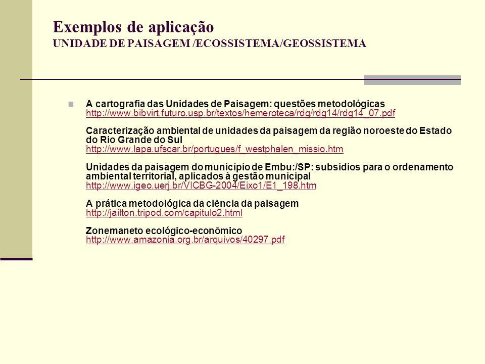 Exemplos de aplicação UNIDADE DE PAISAGEM /ECOSSISTEMA/GEOSSISTEMA A cartografia das Unidades de Paisagem: questões metodológicas http://www.bibvirt.f