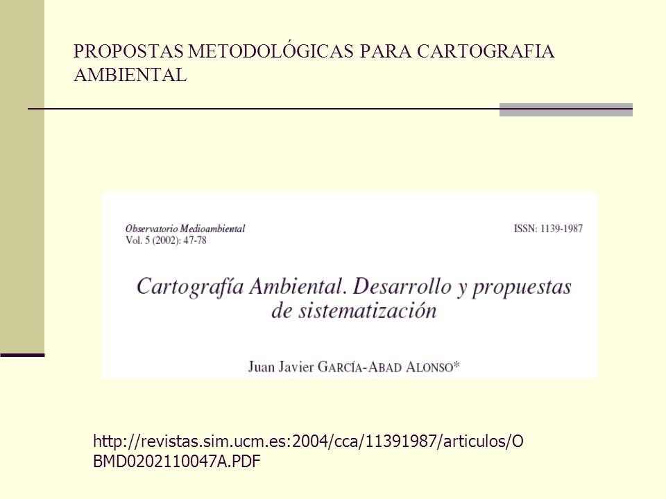 PROPOSTAS METODOLÓGICAS PARA CARTOGRAFIA AMBIENTAL http://revistas.sim.ucm.es:2004/cca/11391987/articulos/O BMD0202110047A.PDF