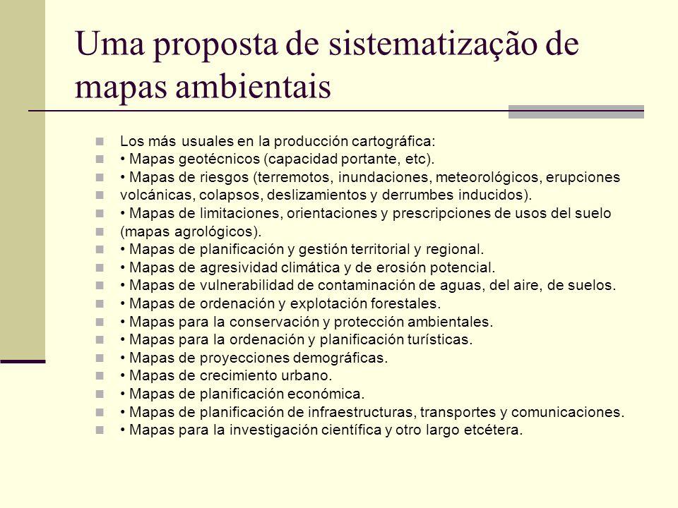 Uma proposta de sistematização de mapas ambientais Los más usuales en la producción cartográfica: Mapas geotécnicos (capacidad portante, etc). Mapas d