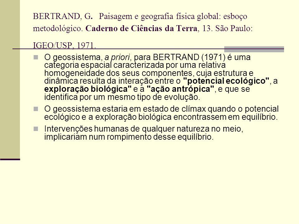 BERTRAND, G. Paisagem e geografia física global: esboço metodológico. Caderno de Ciências da Terra, 13. São Paulo: IGEO/USP, 1971. O geossistema, a pr