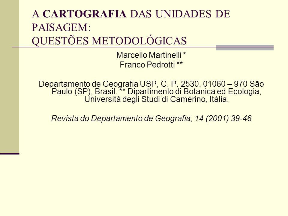 A CARTOGRAFIA DAS UNIDADES DE PAISAGEM: QUESTÕES METODOLÓGICAS Marcello Martinelli * Franco Pedrotti ** Departamento de Geografia USP, C. P. 2530, 010