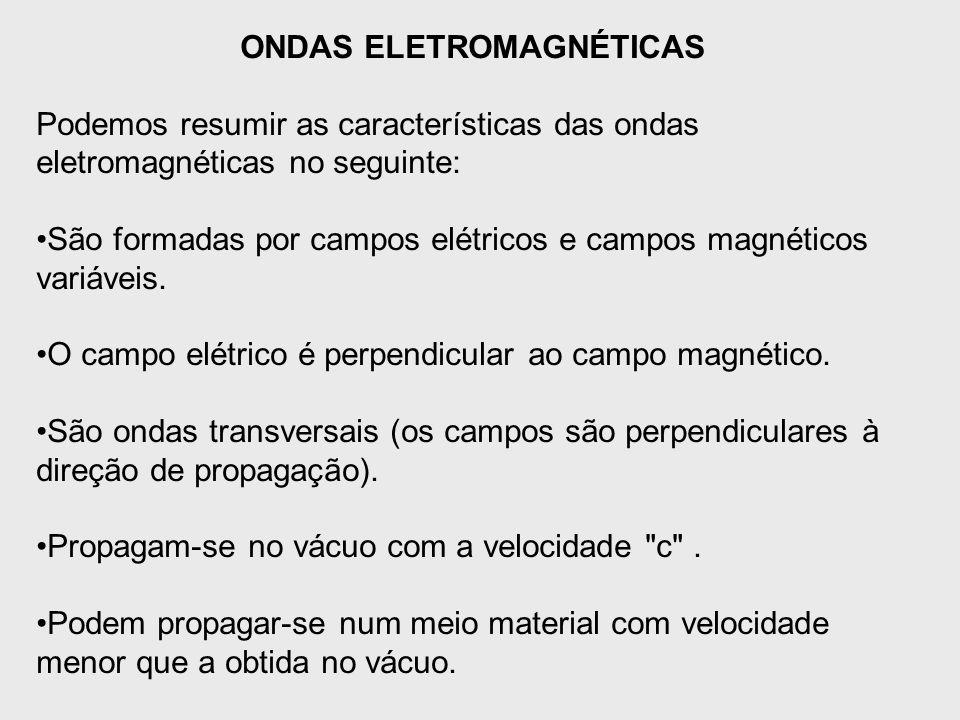 ONDAS ELETROMAGNÉTICAS Podemos resumir as características das ondas eletromagnéticas no seguinte: São formadas por campos elétricos e campos magnético