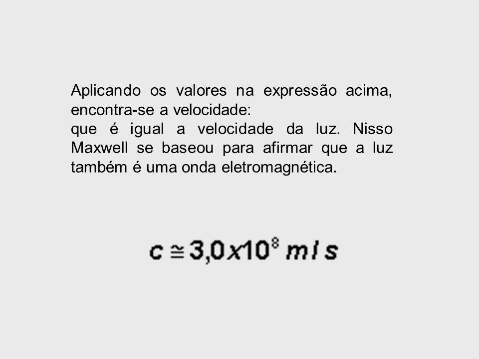 Aplicando os valores na expressão acima, encontra-se a velocidade: que é igual a velocidade da luz. Nisso Maxwell se baseou para afirmar que a luz tam