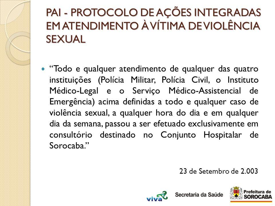 PAI - PROTOCOLO DE AÇÕES INTEGRADAS EM ATENDIMENTO À VÍTIMA DE VIOLÊNCIA SEXUAL Todo e qualquer atendimento de qualquer das quatro instituições (Políc